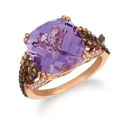 14K Strawberry Gold® Grape Amethyst™ 5  1/2 cts. Ring with Chocolate Diamonds® 1/3 cts., Nude Diamonds™ 1/5 cts. | WJHN 66