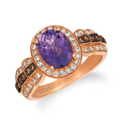 14K Strawberry Gold® Grape Amethyst™ 1  1/2 cts. Ring with Chocolate Diamonds® 1/8 cts., Nude Diamonds™ 3/8 cts. | WJHN 68