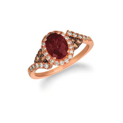 14K Strawberry Gold® Raspberry Rhodolite® 1  1/3 cts. Ring with Nude Diamonds™ 1/3 cts., Chocolate Diamonds® 1/8 cts. | WJHN 69