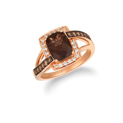 14K Strawberry Gold® Chocolate Quartz® 1  5/8 cts. Ring with Chocolate Diamonds® 1/4 cts., Nude Diamonds™ 1/6 cts. | WJHN 71