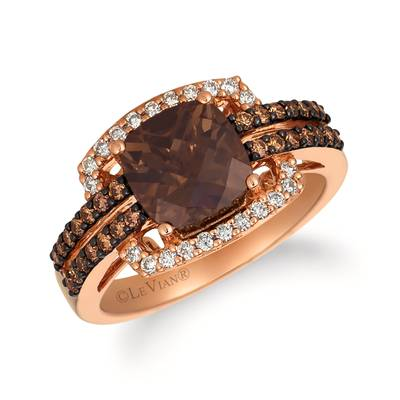 14K Strawberry Gold® Chocolate Quartz® 1  3/4 cts. Ring with Chocolate Diamonds® 1/3 cts., Nude Diamonds™ 1/5 cts. | WJHN 72