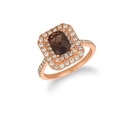 14K Strawberry Gold® Chocolate Quartz® 1 cts. Ring with Nude Diamonds™ 3/4 cts. | WJHN 74