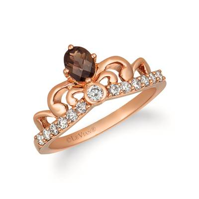14K Strawberry Gold® Chocolate Quartz® 1/4 cts. Ring with Nude Diamonds 1/3 cts. | WJHN 88
