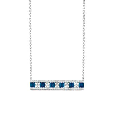 14K Vanilla Gold® Blueberry Sapphire™ 7/8 cts. Necklace with Vanilla Diamonds® 1/3 cts. | WJHN 91