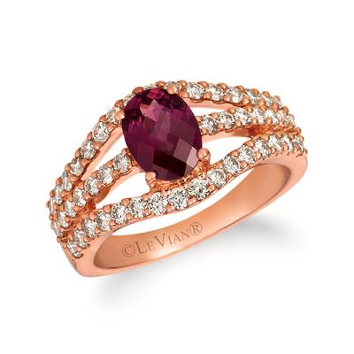 14K Strawberry Gold® Raspberry Rhodolite® 1  1/3 cts. Ring with Nude Diamonds™ 7/8 cts. | WJHV 37