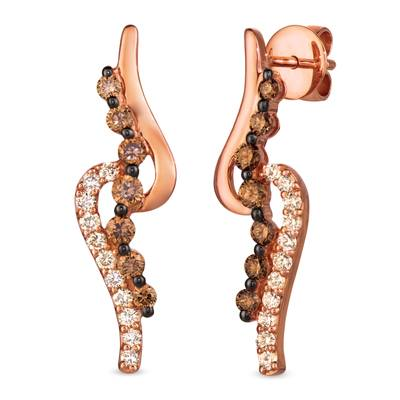 14K Strawberry Gold® Earrings with Chocolate Diamonds® 3/4 cts., Nude Diamonds 3/8 cts. | WJHW 9