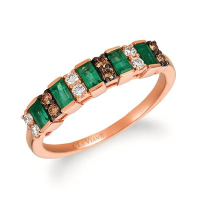 14K Strawberry Gold® Costa Smeralda Emeralds™ 1/3 cts. Ring with Vanilla Diamonds® 1/8 cts., Chocolate Diamonds® 1/10 cts. | WJHZ 31