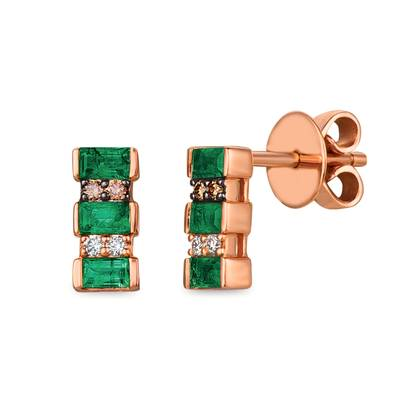 14K Strawberry Gold® Costa Smeralda Emeralds™ 3/8 cts. Earrings with Chocolate Diamonds® 1/20 cts., Vanilla Diamonds® 1/20 cts. | WJHZ 33