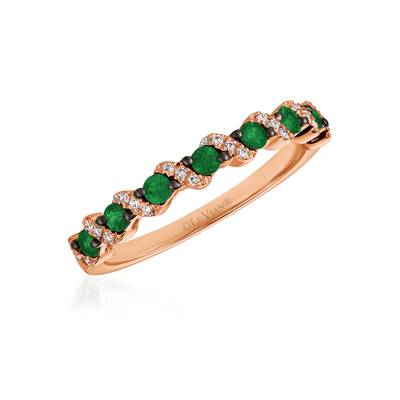 14K Strawberry Gold® Costa Smeralda Emeralds™ 1/6 cts. Ring with Vanilla Diamonds® 1/20 cts. | WJHZ 47