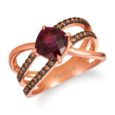 14K Strawberry Gold® Raspberry Rhodolite® 1  7/8 cts. Ring with Chocolate Diamonds® 1/3 cts. | WJHZ 49