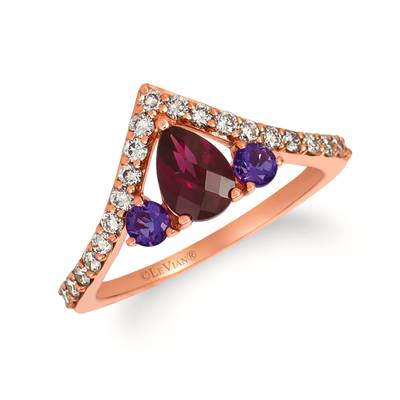 14K Strawberry Gold® Raspberry Rhodolite® 3/4 cts., Grape Amethyst™ 1/5 cts. Ring with Nude Diamonds™ 3/8 cts. | WJHZ 66
