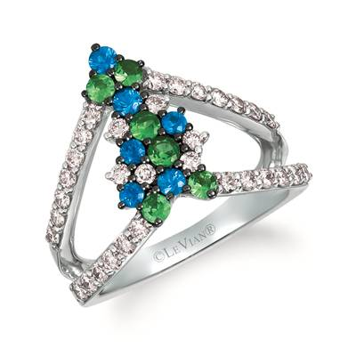 14K Vanilla Gold® Forest Green Tsavorite™ 1/3 cts., Blueberry Sapphire™ 1/3 cts. Ring with Nude Diamonds™ 5/8 cts. | WJHZ 78