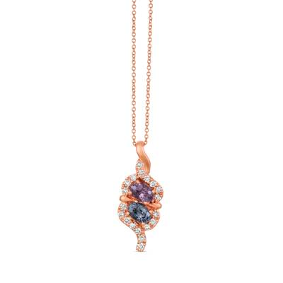 14K Strawberry Gold® Gray Spinel 1/2 cts., Lavender Spinal 1/2 cts. Pendant with Nude Diamonds™ 1/3 cts. | WJHZ 84