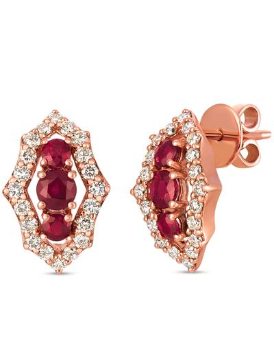 14K Strawberry Gold® Passion Ruby™ 1 cts. Earrings with Nude Diamonds™ 7/8 cts. | WJIF 2
