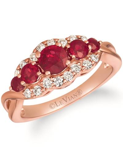 14K Strawberry Gold® Passion Ruby™ 1 cts. Ring with Nude Diamonds™ 1/3 cts. | WJIF 7