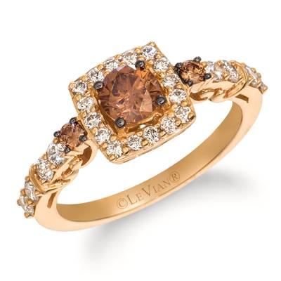 14K Strawberry Gold® Ring with Chocolate Diamonds® 1/2 cts., Nude Diamonds™ 1/2 cts. | WJIG 3