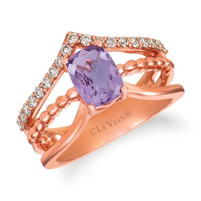 14K Strawberry Gold® Grape Amethyst™ 1 cts. Ring with Nude Diamonds 1/3 cts. | WJIN 6