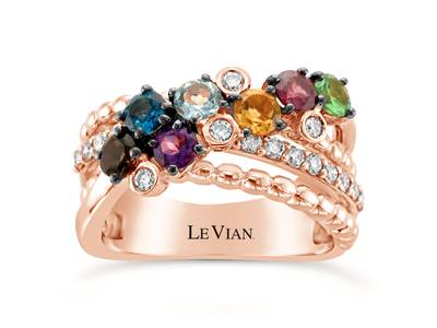 14K Strawberry Gold® Deep Sea Blue Topaz™ 1/5 cts., Raspberry Rhodolite® 1/5 cts., Forest Green Tsavorite™ 1/6 cts., Cinnamon Citrine® 1/6 cts., Chocolate Quartz® 1/8 cts., Grape Amethyst™ 1/8 cts., Sea Blue Aquamarine® 1/8 cts. Ring with Nude Diamonds™ 7/8 cts. | WJIO 10