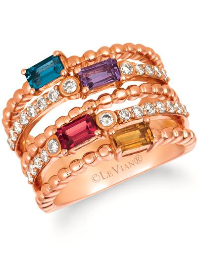 14K Strawberry Gold® Deep Sea Blue Topaz™ 1/4 cts., Raspberry Rhodolite® 1/4 cts., Cinnamon Citrine® 1/5 cts., Grape Amethyst™ 1/5 cts. Ring with Nude Diamonds 5/8 cts. | WJIO 8