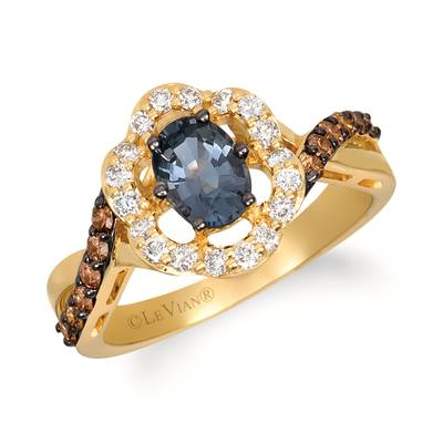 14K Honey Gold™ Gray Spinel 3/4 cts. Ring with Chocolate Diamonds® 1/4 cts., Nude Diamonds™ 1/4 cts. | WJIP 39-070