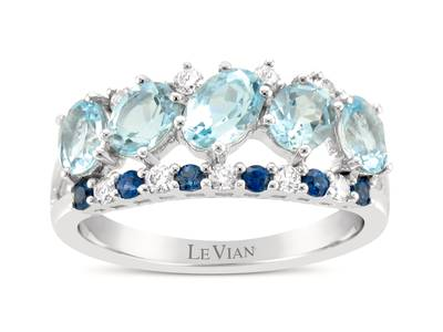14K Vanilla Gold® Sea Blue Aquamarine® 1  1/3 cts., Blueberry Sapphire™ 1/6 cts. Ring with Nude Diamonds™ 1/5 cts. | WJIP 4