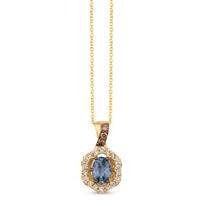 14K Honey Gold™ Gray Spinel 3/4 cts. Pendant with Chocolate Diamonds® 1/15 cts., Nude Diamonds 1/4 cts. | WJIP 40