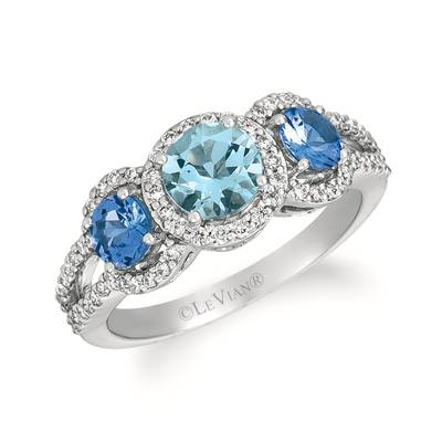 14K Vanilla Gold® Sea Blue Aquamarine® 5/8 cts., Blueberry Tanzanite® 5/8 cts. Ring | WJIP 70