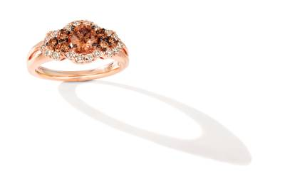 14K Strawberry Gold® Ring with Chocolate Diamonds® 5/8 cts., Nude Diamonds™ 3/8 cts. | WJIR 26