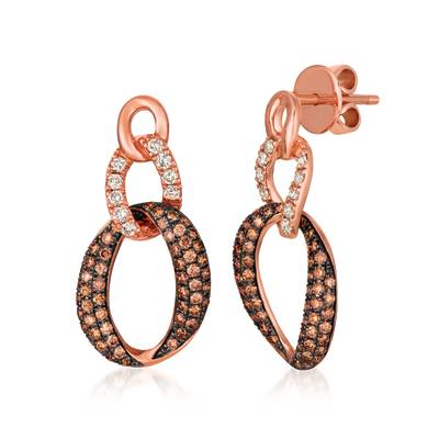 14K Strawberry Gold® Earrings with Nude Diamonds 1/3 cts., Chocolate Diamonds® 7/8 cts. | WJJT 1