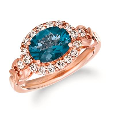 14K Strawberry Gold® Deep Sea Blue Topaz™ 1  7/8 cts. Ring with Nude Diamonds™ 1/2 cts. | WJJT 10