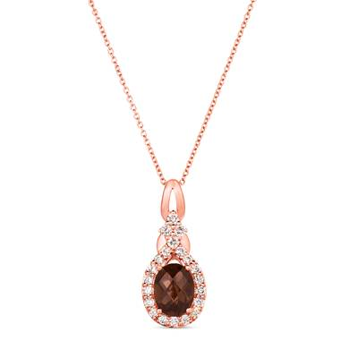 14K Strawberry Gold® Chocolate Quartz® 1  1/2 cts. Pendant with Nude Diamonds™ 1/2 cts. | WJJT 14