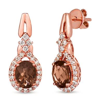 14K Strawberry Gold® Chocolate Quartz® 3 cts. Earrings with Nude Diamonds 7/8 cts. | WJJT 15