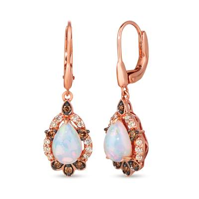 14K Strawberry Gold® Neopolitan Opal™ 1  3/4 cts. Earrings with Chocolate Diamonds® 1/3 cts., Nude Diamonds™ 3/8 cts. | WJJT 21