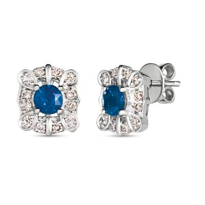 14K Vanilla Gold® Blueberry Sapphire™ 1 cts. Earrings with Nude Diamonds 3/8 cts. | WJJT 30