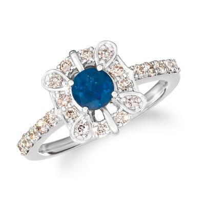 14K Vanilla Gold® Blueberry Sapphire™ 1/2 cts. Ring with Nude Diamonds™ 1/2 cts. | WJJT 31