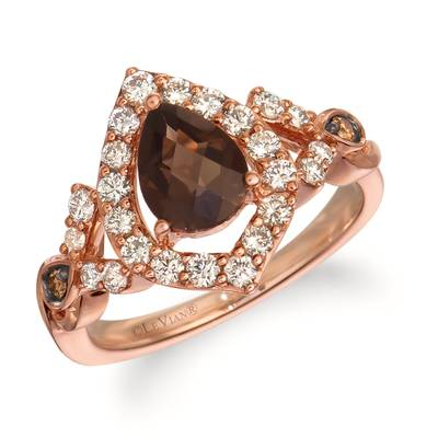 14K Strawberry Gold® Chocolate Quartz® 7/8 cts. Ring with Nude Diamonds™ 5/8 cts., Chocolate Diamonds® 1/20 cts. | WJJT 55
