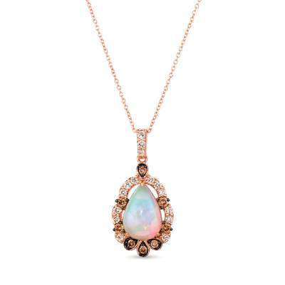 14K Strawberry Gold® Neopolitan Opal™ 2  1/5 cts. Pendant with Chocolate Diamonds® 1/3 cts., Nude Diamonds 3/8 cts. | WJJT 92