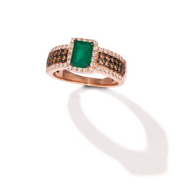 14K Strawberry Gold® New Emerald 3/4 cts. Ring with Chocolate Diamonds® 1/4 cts., Nude Diamonds™ 3/8 cts. | WJJT 94