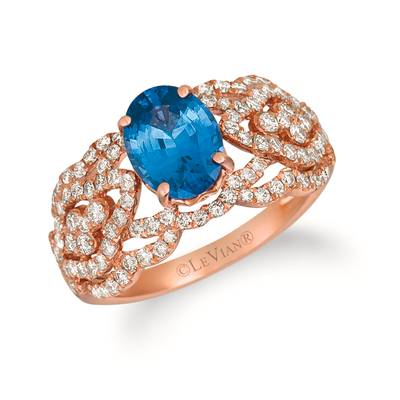 14K Strawberry Gold® Blueberry Tanzanite® 1  3/4 cts. Ring with Nude Diamonds™ 7/8 cts. | WJKI 21