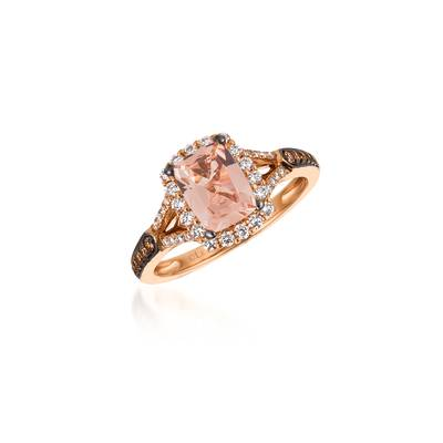14K Strawberry Gold® Peach Morganite™ 1 cts. Ring with Chocolate Diamonds® 1/10 cts., Vanilla Diamonds® 1/3 cts. | WJKI 3