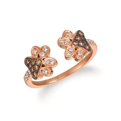 14K Strawberry Gold® Ring with Chocolate Diamonds® 1/6 cts., Vanilla Diamonds® 1/6 cts. | WJKI 7