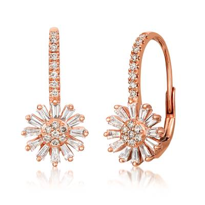14K Strawberry Gold® Earrings with Vanilla Diamonds® 1/2 cts., Nude Diamonds™ 1/4 cts. | WJKJ 15