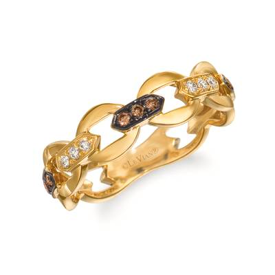 14K Honey Gold™ Ring with Chocolate Diamonds® 1/10 cts., Nude Diamonds 1/20 cts. | WJKN 1