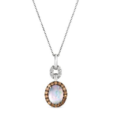 14K Vanilla Gold® Neopolitan Opal™ 1  1/5 cts. Pendant with Chocolate Diamonds® 1/2 cts., Nude Diamonds 1/8 cts. | WJKN 57
