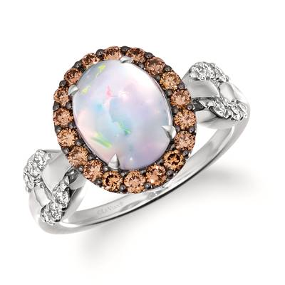 14K Vanilla Gold® Neopolitan Opal™ 1  1/5 cts. Ring with Chocolate Diamonds® 1/2 cts., Nude Diamonds 1/4 cts. | WJKN 58