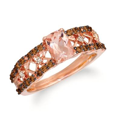 14K Strawberry Gold® Peach Morganite™ 5/8 cts. Ring with Chocolate Diamonds® 3/8 cts., Nude Diamonds™ 1/20 cts. | WJKN 9