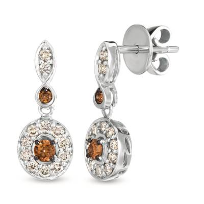 14K Vanilla Gold® Earrings with Chocolate Diamonds® 1/5 cts., Nude Diamonds 1/3 cts. | WJKO 4D