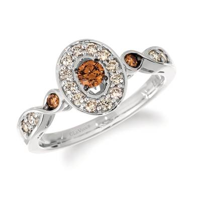 14K Vanilla Gold® Ring with Chocolate Diamonds® 1/5 cts., Nude Diamonds™ 1/4 cts. | WJKO 6D