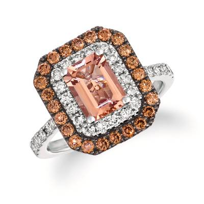 14K Vanilla Gold® Peach Morganite™ 1 cts. Ring with Nude Diamonds™ 1/2 cts., Chocolate Diamonds® 1/2 cts. | WJKQ 14