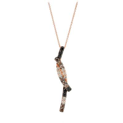14K Strawberry Gold® Pendant with Black Diamonds 1/3 cts., Nude Diamonds 1/3 cts., Chocolate Diamonds® 3/8 cts. | WJKQ 30